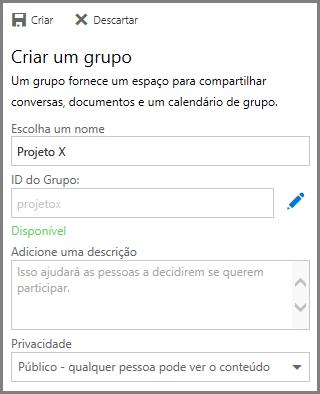 Captura de tela sobre como digitar um nome e clicar em Criar para criar um grupo a partir do OneDrive for Business