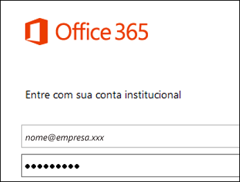 Sinal do portal do Office 365 na tela