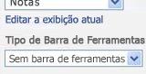 Painel de ferramentas da Web Part com a opção Sem Barra de Ferramentas selecionada na lista Tipo de Barra de Ferramentas.