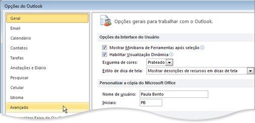 Comando avançado na caixa de diálogo Opções do Outlook