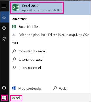 Ilustra como encontrar o ícone do Excel no Windows 10
