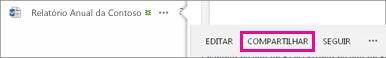 Captura de tela do botão Compartilhar