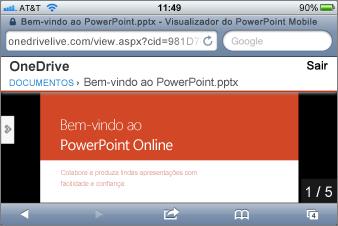 Apresentação de slides no Visualizador do PowerPoint Mobile