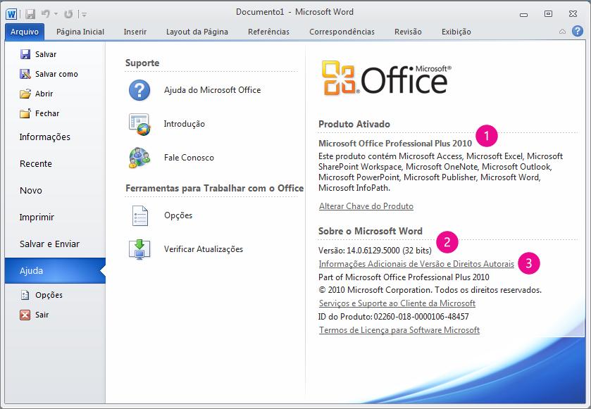 Informações do produto após clicar em Arquivo > Ajuda no Word 2010