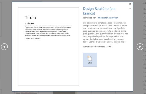 Mostra uma visualização de modelo de design de relatório no Word 2016.