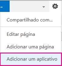 Captura de tela do menu Configurações com o link do botão Adicionar um Aplicativo realçado