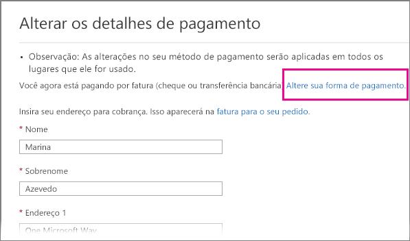 Página Alterar detalhes de pagamento com o link Alterar forma de pagamento realçado.