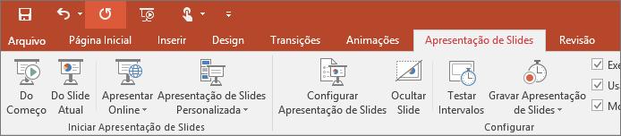 Mostra a guia Apresentação de Slides na faixa de opções do PowerPoint