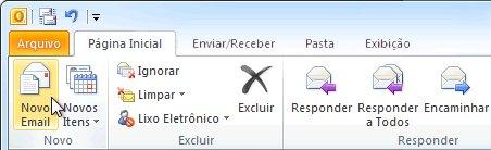 Comando Novo Email na faixa de opções