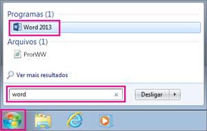 Ilustra como pesquisar pelo ícone do Word no Windows 7