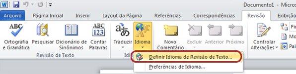 Botão Idioma da Faixa de Opções do Word