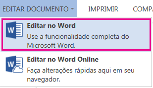 Captura de tela do Word Online com a opção Editar no Word selecionada