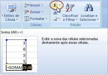 Botão AutoSoma