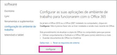 Configurar as suas aplicações de ambiente de trabalho para funcionarem com o Office 365
