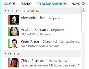 Captura de ecrã de ordenação de contactos por relação