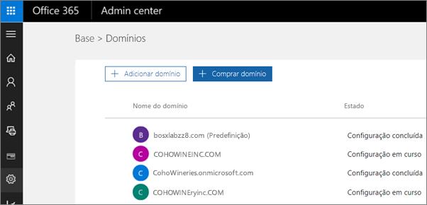 Na página Gerir domínios, clique em Comprar domínio