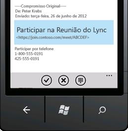 Captura de ecrã que mostra Participar numa Reunião do Lync no dispositivo móvel