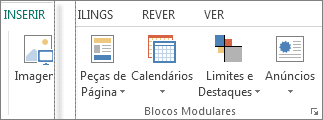 Captura de ecrã do grupo Blocos Modulares no separador Inserir no Publisher.
