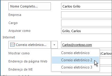 Adicionar um endereço de e-mail extra para um contacto