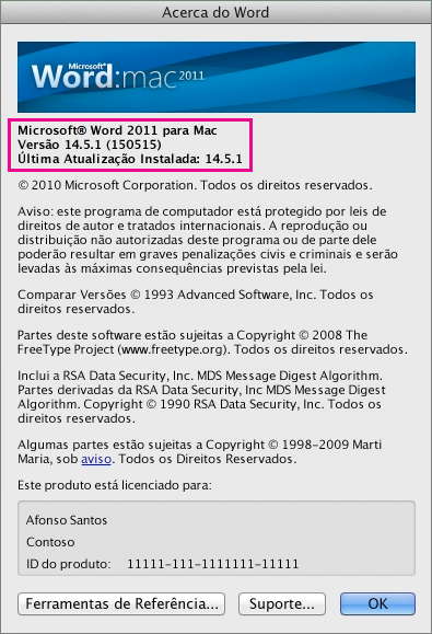 Captura de ecrã do Word para Mac 2011 a apresentar a página Acerca do Word