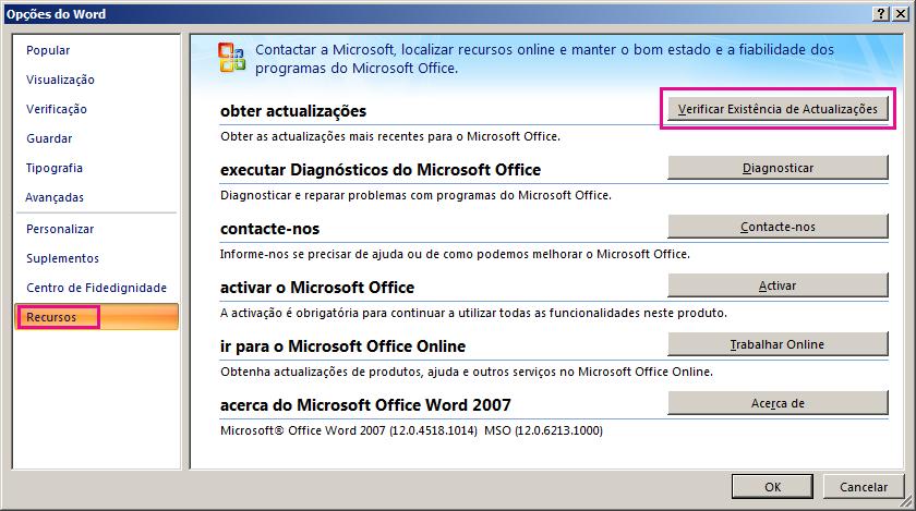 Procurar atualizações do Office no Word 2007