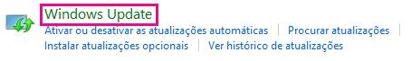 Ligação Windows Update no Painel de Controlo do Windows 8