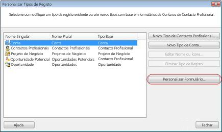 the customize record types dialog box with the customize form button outlined.