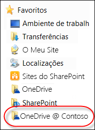 Pasta do OneDrive para Empresas sincronizada no Explorador de Ficheiros