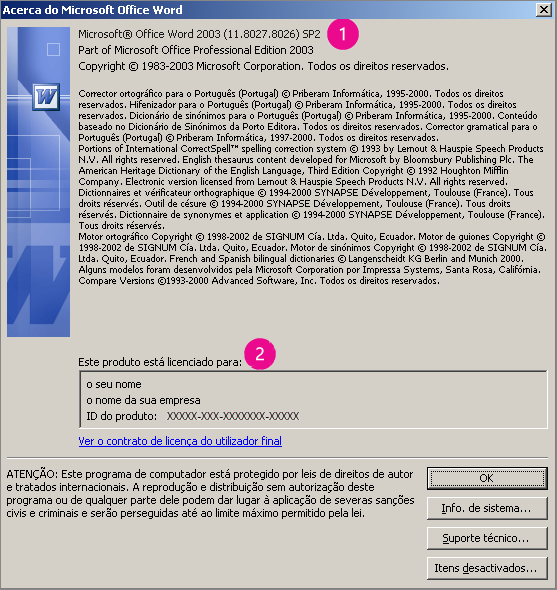 Janela Acerca do Microsoft Office Word 2003