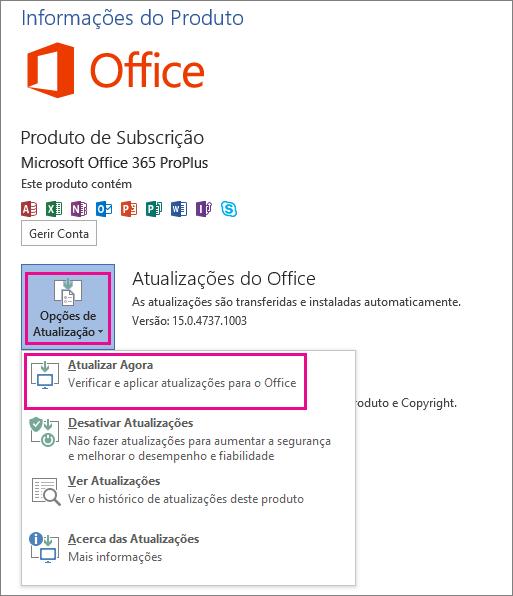 Procurar manualmente atualizações do Office no Word 2013