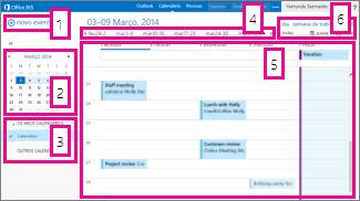 Vista semanal do calendário