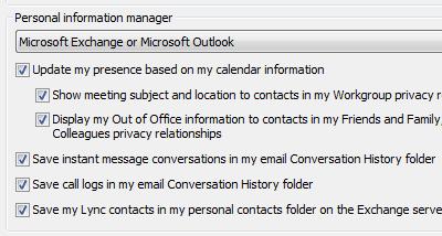 Opções do gestor de informações pessoais do Lync 2010