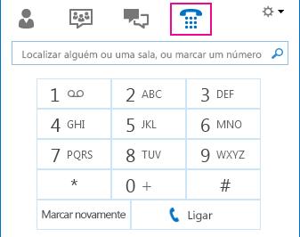 Captura de ecrã do ícone Telefone mostrando o teclado telefónico que pode ser utilizado para fazer chamadas