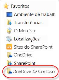 Pasta do OneDrive para Empresas sincronizada nos Favoritos do Explorador de Ficheiros