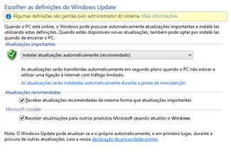 Definições do Windows Update no Painel de Controlo do Windows 8