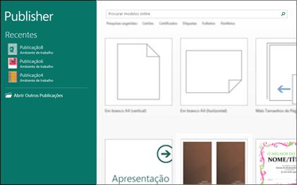 Captura de ecrã dos modelos introdutórios no Publisher.