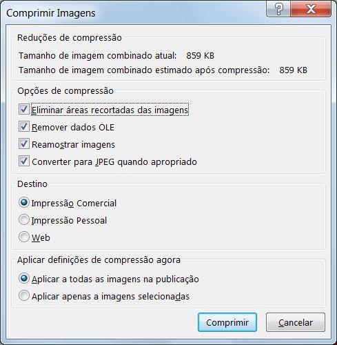 Caixa de diálogo Comprimir imagens.