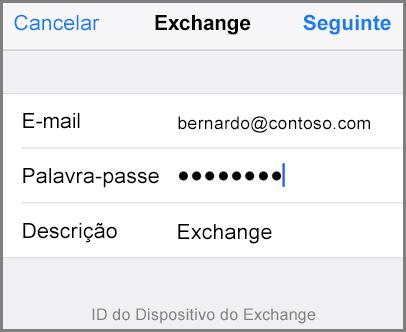 Adicione o seu endereço de e-mail e a palavra-passe