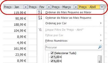 Filtros Automáticos em cabeçalhos de colunas numa tabela do Excel