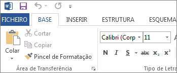 Separador Base no Word 2013, Word 2016 e Word RT