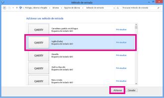 Adicionar um método de introdução no Windows 8