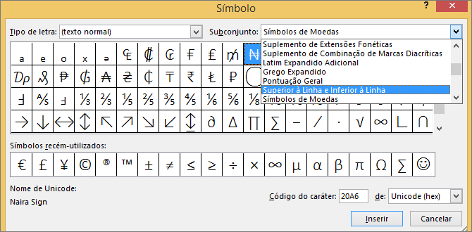 Mostra o subconjunto Superior à Linha e Inferior à Linha na caixa de diálogo Símbolo no PowerPoint
