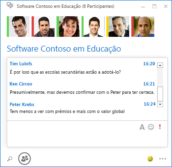Captura de ecrã de chat persistent com 6 participantes