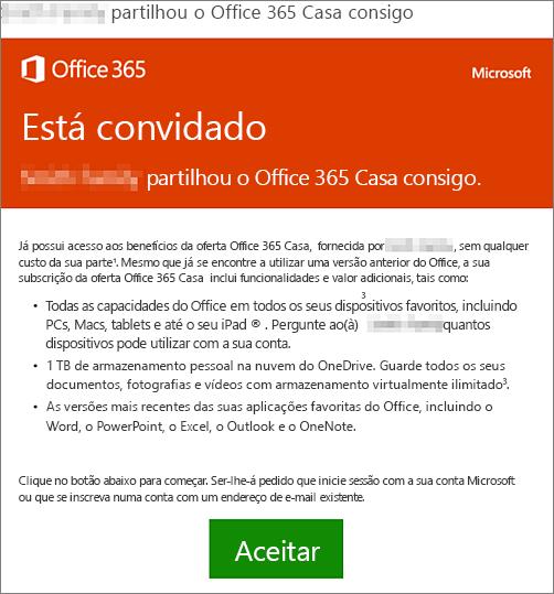 E-mail a anunciar que alguém partilhou o Office 365 Casa consigo
