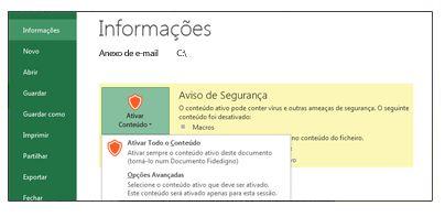 Área Avisos de Segurança quando um ficheiro não pode ser considerado fidedigno