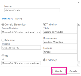 A adicionar um novo contacto do Outlook a partir de uma mensagem