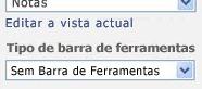 Painel de ferramentas da Peça Web com a opção Sem Barra de Ferramentas seleccionada na lista Tipo de Barra de Ferramentas.
