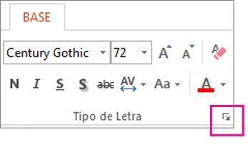 Iniciador de caixa de diálogo Tipo de Letra