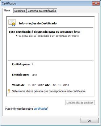 Caixa de diálogo Certificado