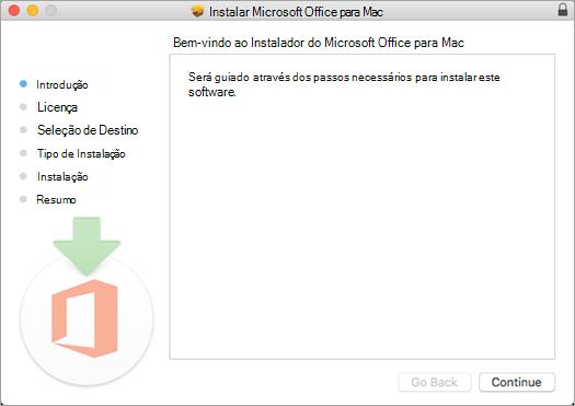 """O primeiro ecrã de instalação do Mac 2016 com a palavra """"Continuar"""" realçada"""